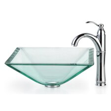 <strong>Kraus</strong> Square Aquamarine Glass Vessel Bathroom Sink with Rivera Faucet
