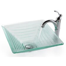 <strong>Kraus</strong> Square Alexandrite Glass Vessel Bathroom Sink with Rivera Faucet