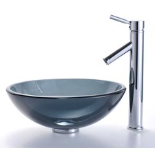 Clear Black Glass Vessel Sink and Sheven Faucet