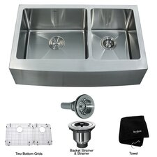 "Farmhouse 33"" 70/30 Double Bowl Kitchen Sink"