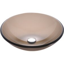 Frosted Brown Glass Vessel Sink with PU-MR
