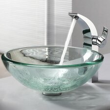 Clear Glass Vessel Sink and Single Hole Faucet with Single Handle