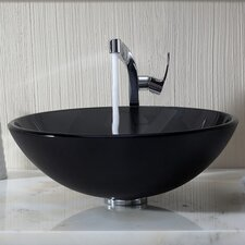Glass Vessel Bathroom Sink with Single Handle Typhon Single Hole Faucet