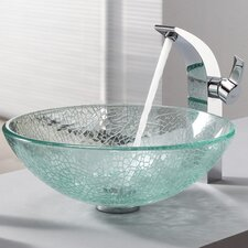 Bathroom Combos Broken Glass Vessel Bathroom Sink with Single Handle Single Hole Faucet