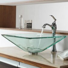 Bathroom Combos Aquamarine Glass Vessel Bathroom Sink with Single Handle Single Hole Faucet