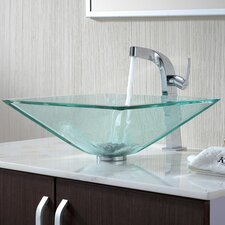 <strong>Kraus</strong> Bathroom Combos Aquamarine Glass Vessel Bathroom Sink with Single Handle Single Hole Faucet