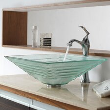 <strong>Kraus</strong> Bathroom Combos Alexandrite Glass Vessel Bathroom Sink with Single Handle Single Hole Faucet