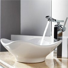 Bathroom Combos Tulip Ceramic Bathroom Sink with Single Handle Single Hole Faucet