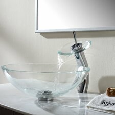 Crystal Clear Glass Vessel Sink and Waterfall Faucet