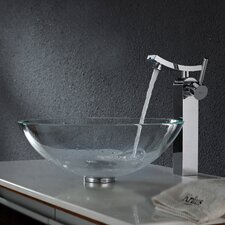<strong>Kraus</strong> Crystal Clear Glass Vessel Sink and Unicus Faucet