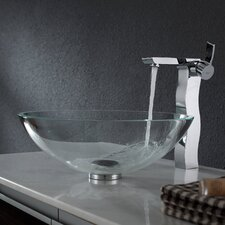 Crystal Clear Glass Vessel Sink and Sonus Faucet