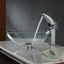 Crystal Clear Glass Vessel Sink and Illusio Faucet