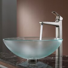 Frosted Glass Vessel Sink and Virtus Faucet