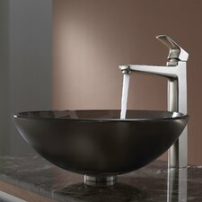 Brown Glass Vessel Sink and Virtus Faucet