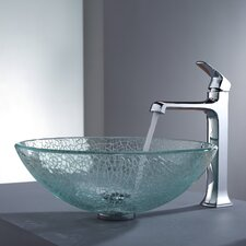 Decorum Broken Glass Vessel Bathroom Sink and Faucet