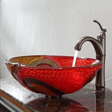Copper Snake Glass Vessel Bathroom Sink with Riviera Faucet