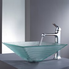 <strong>Kraus</strong> Decorum Alexandrite Glass Vessel Bathroom Sink and Faucet