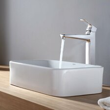 <strong>Kraus</strong> Virtus Rectangular Ceramic Bathroom Sink with Faucet