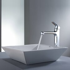 Decorum Square Ceramic Bathroom Sink and Faucet