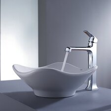 <strong>Kraus</strong> Decorum Tulip Ceramic Bathroom Sink and Faucet