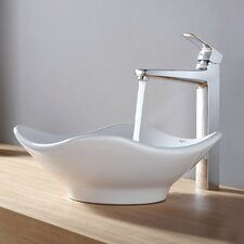 <strong>Kraus</strong> Virtus Tulip Ceramic Bathroom Sink with Faucet