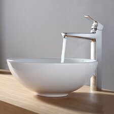 Virtus Round Ceramic Bathroom Sink with Faucet