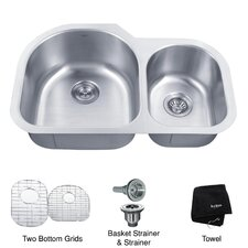 "31.5"" x 20"" 6 Piece Undermount 60/40 Double Bowl Kitchen Sink"