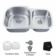 "35.13"" x 20.75"" 6 Piece Undermount 55/45 Double Bowl Kitchen Sink"