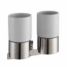 Aura Wall Mounted Double Ceramic Tumbler Holder