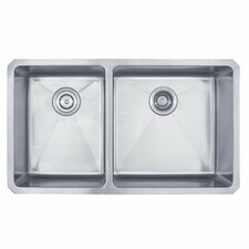"32.75"" x 19"" Undermount 60/40 Double Bowl Kitchen Sink"
