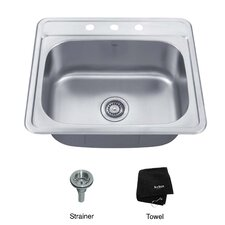 "25"" x 22.4"" Topmount Single Bowl 18 Gauge Kitchen Sink"