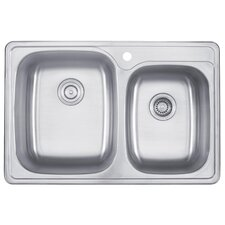 "33"" x 22"" Topmount 55/45 Double Bowl Kitchen Sink"