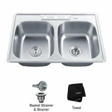 "33"" x 22"" Topmount 50/50 Double Bowl Kitchen Sink"