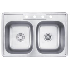 "33"" x 22"" Topmount 50/50 Double Bowl Kitchen Sink"