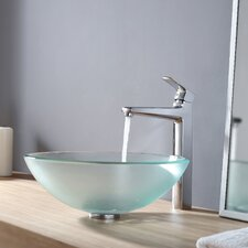 <strong>Kraus</strong> Frosted Glass Vessel Sink and Virtus Faucet