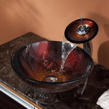 <strong>Kraus</strong> Saturn Vessel Bathroom Sink with Waterfall Faucet