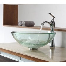 <strong>Kraus</strong> Clear Thick Glass Vessel Sink and Single Hole Faucet with Single Handle