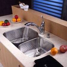 "32"" x 20.75"" x 9"" 8 Piece Double Bowl Kitchen Sink Set"