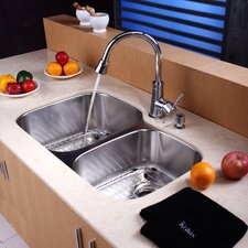 "32"" x 20.75"" Undermount 60 / 40 Double Bowl Kitchen Sink with Faucet and Soap Dispenser"