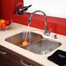 "32"" x 20.75"" x 9"" Undermount Double Bowl Kitchen Sink with Faucet and Soap Dispenser"