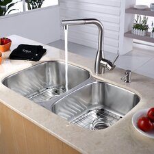 "32"" x 20.75""  8 Piece Undermount Double Bowl Kitchen Sink Set"