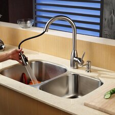 "32"" x 20.75"" Double Bowl Undermount Kitchen Sink with Faucet and Soap Dispenser"