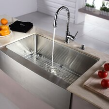 "32.9"" x 20.75"" x 10"" Farmhouse Kitchen Sink with Faucet and Soap Dispenser"
