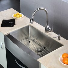 "<strong>Kraus</strong> 32.9"" x 20.75""  6 Piece Farmhouse Kitchen Sink Set"