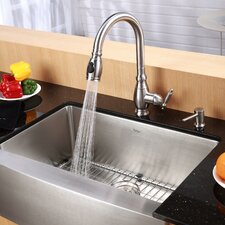 "33"" x 20.75"" 6 Piece Farmhouse Kitchen Sink Set"
