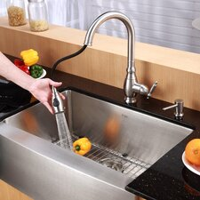 "33"" x 20.75"" Farmhouse Kitchen Sink with Faucet and Soap Dispenser"