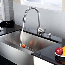 "<strong>Kraus</strong> 35.9"" x 20.75"" 6 Piece Farmhouse Kitchen Sink Set"