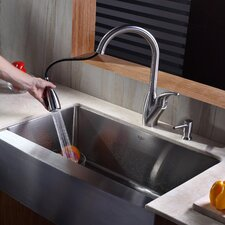 "32.9"" x 20.75"" Farmhouse Kitchen Sink with Faucet and Soap Dispenser"