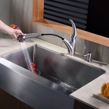 <strong>Kraus</strong> Farmhouse Kitchen Sink with Faucet and Soap Dispenser