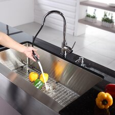 "<strong>Kraus</strong> 35.875"" x 20.75"" Farmhouse Kitchen Sink with Faucet and Soap Dispenser"